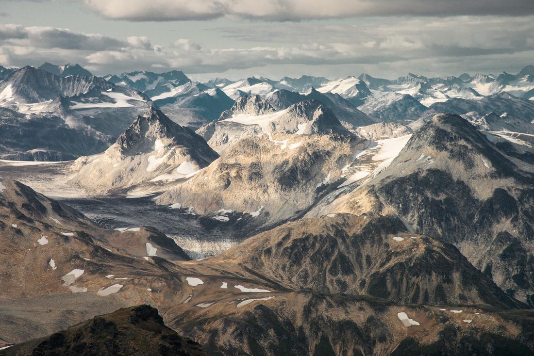 An aerial view Chigmit Mountains of the Aleutian Range in Lake Clark NP, Alaska, USA